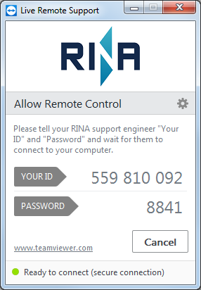 Screenshot of Live Remote Support program